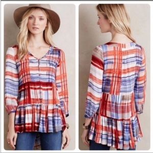 MAEVE Anthro Lila Plaid Tiered Tunic Top XS